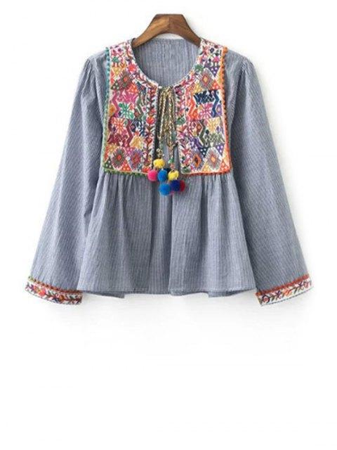 buy Ethnic Embroidery Round Neck Long Sleeve Coat - GRAY M Mobile