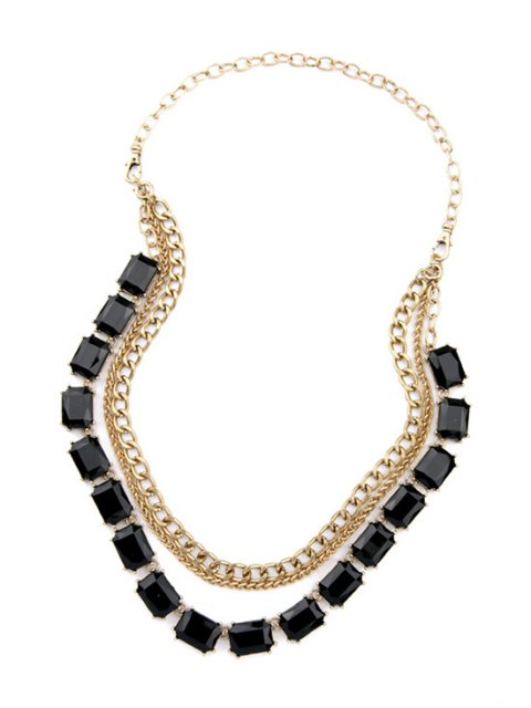 buy Faux Gem Multilayered Pendant Necklace -   Mobile