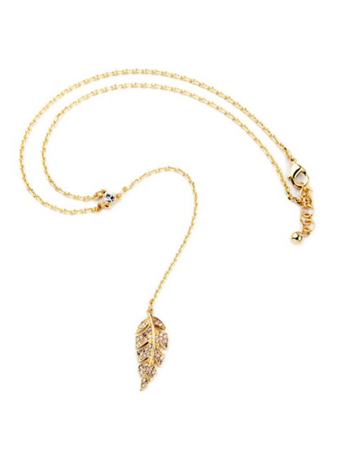 sale Vintage Long Style Leaf Necklace - GOLDEN  Mobile