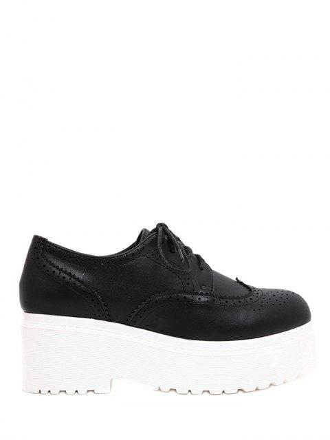 latest Engraving Solid Color Lace-Up Platform Shoes - BLACK 38 Mobile