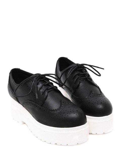 shops Engraving Solid Color Lace-Up Platform Shoes - BLACK 35 Mobile
