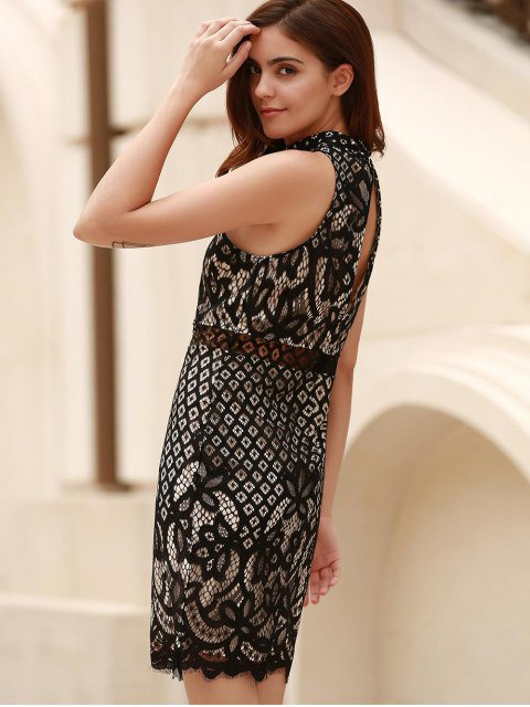 chic Mock Neck Guipure Lace Sheath Dress - BLACK M Mobile