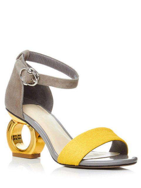 shops Color Block Ankle Strap Strange Heel Sandals - YELLOW 37 Mobile