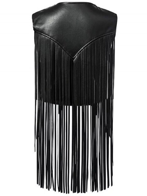 affordable PU Leather Tassels V Neck Waistcoat - BLACK M Mobile