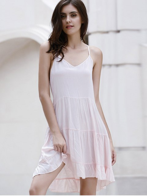 affordable Flounce Ruffles Solid Color Spaghetti Straps Dress - PINK L Mobile