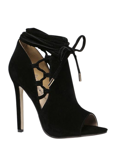 hot Hollow Out Flock Black Peep Toe Shoes - BLACK 38 Mobile