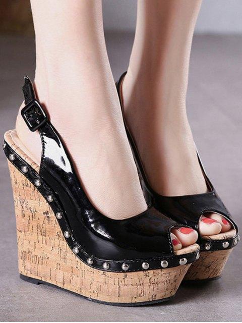 best Rivet Slingback Wedge Heel Peep Toe Shoes - BLACK 39 Mobile