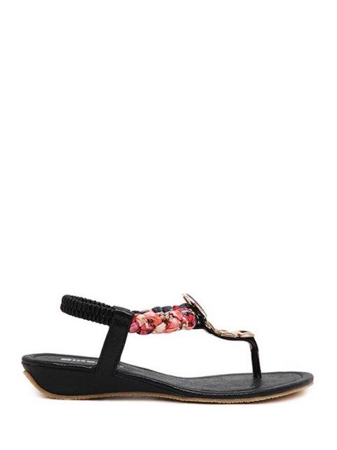 womens Rhinestone Metallic Low Heel Sandals - BLACK 40 Mobile