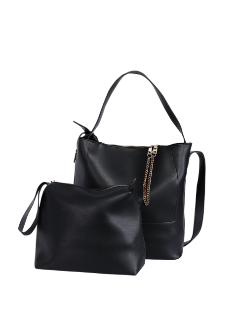 outfits Concise Chains PU Leather Shoulder Bag - BLACK  Mobile
