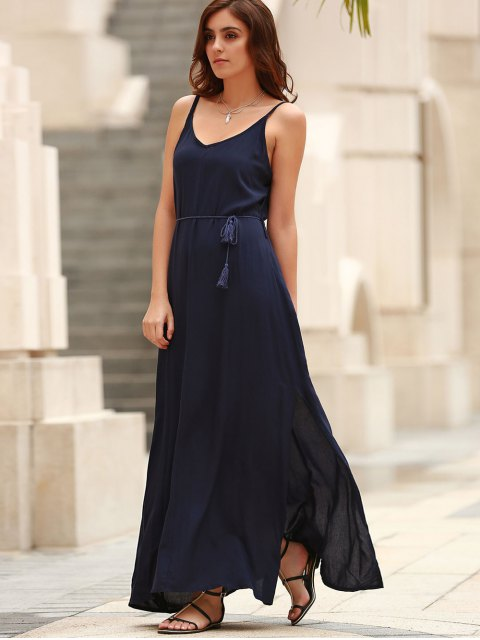 lady Low Back High Slit Long Flowing Dress - BLUE XL Mobile