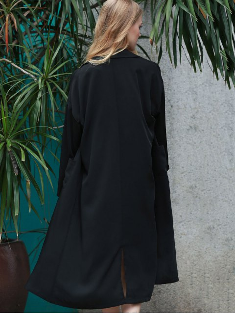 affordable Back Slit Lapel Collar Long Sleeve Long Coat - BLACK 2XL Mobile