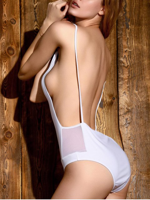 womens Backless Solid Color Straps One-Piece Swimwear - WHITE L Mobile