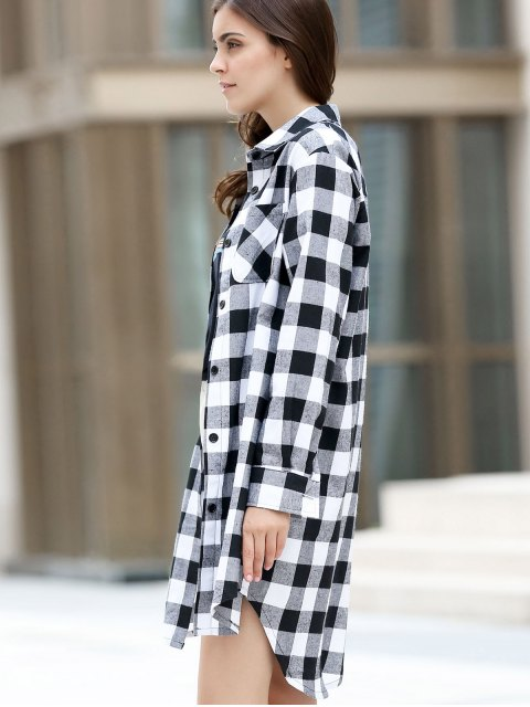 affordable Checked High-Low Shirt Collar Long Sleeve Dress - BLACK 2XL Mobile