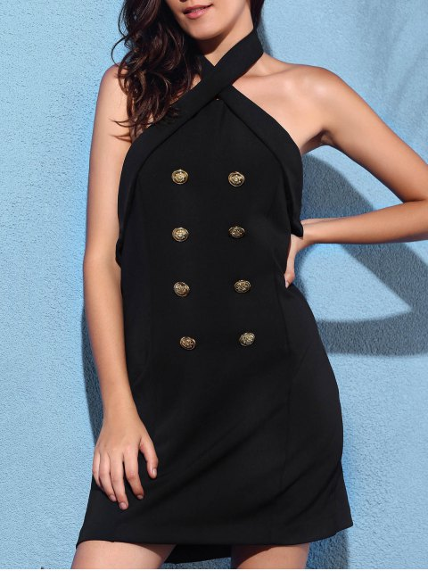 unique Backless Solid Color Cross Halter Sleeveless Dress - BLACK 2XL Mobile