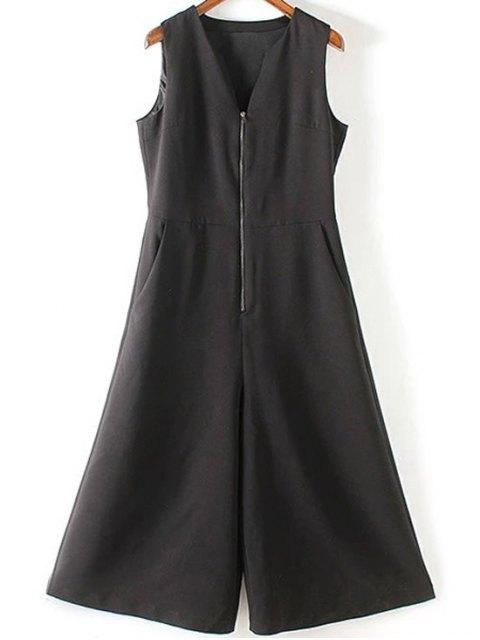 hot Black V Neck Sleeveless Wide Leg Jumpsuit - BLACK S Mobile