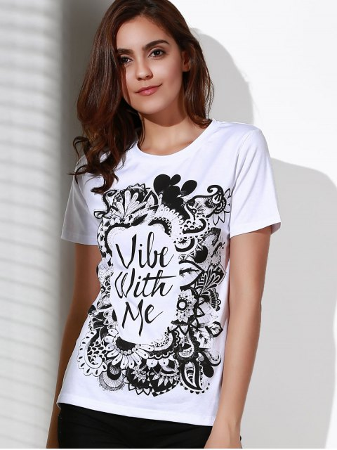 online Patterned White T-Shirt - WHITE 2XL Mobile