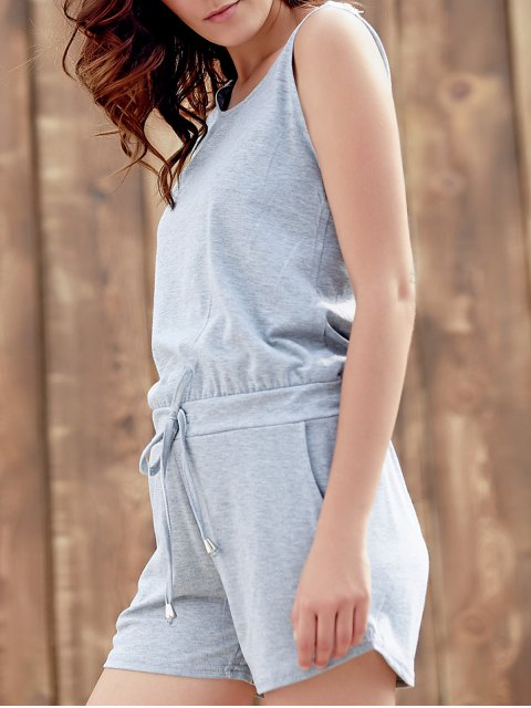 shop Solid Color Scoop Neck Sleeveless Playsuit - GRAY M Mobile
