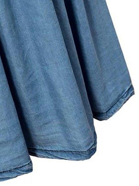 sale Pleated Blue Full Skirt - BLUE M Mobile