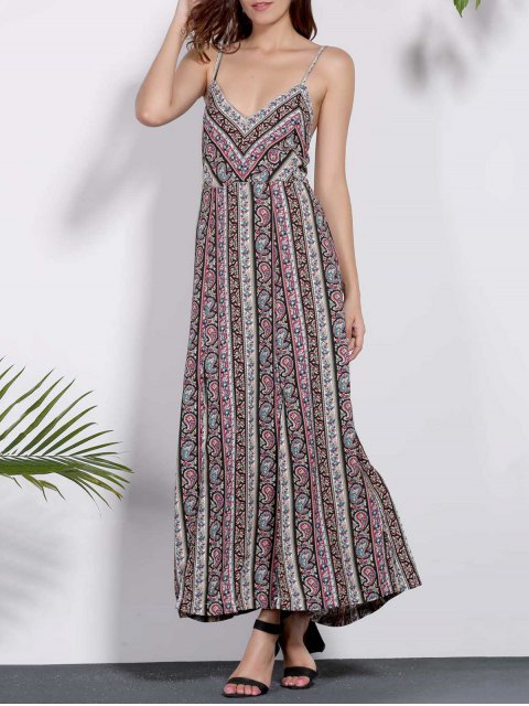 womens Backless Spaghetti Straps Printed Dress - COLORMIX M Mobile