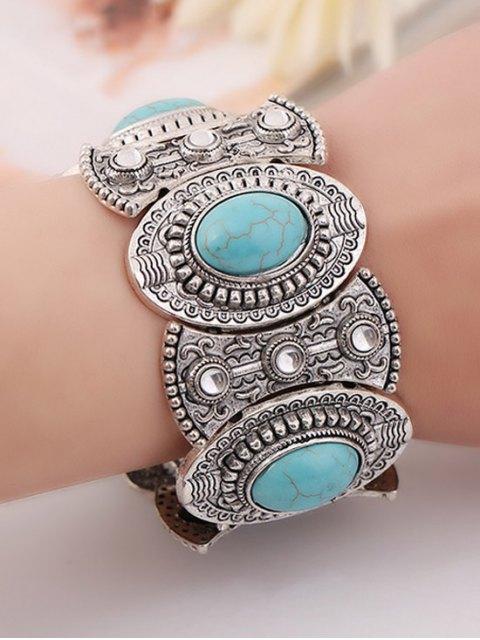 ladies Turquoise Oval Elastic Bracelet - BLUE  Mobile