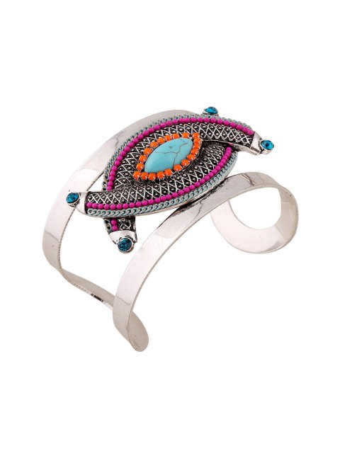 women Stone Decorated Oval Cuff Bracelet -   Mobile