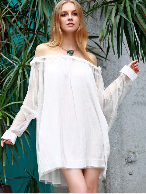 unique Off The Shoulder Loose See-Through Bat-Wing Sleeve Dress - WHITE L Mobile