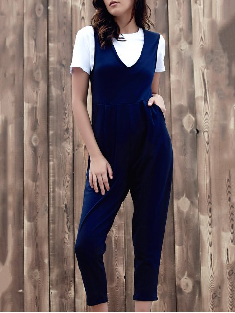 women's Fitting Solid Color Plunging Neck Sleeveless Jumpsuit - PURPLISH BLUE L Mobile