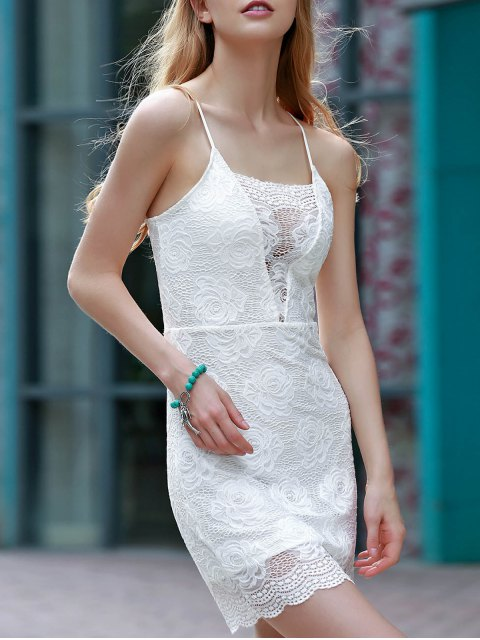 hot Backless Lace Border Cross Halter Bodycon Dress - WHITE L Mobile