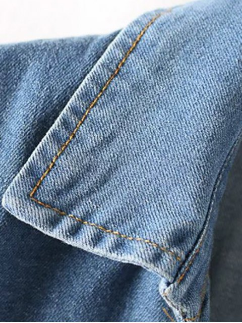 ladies Denim Lace Up Turn Down Collar Short Sleeve Dress - BLUE M Mobile