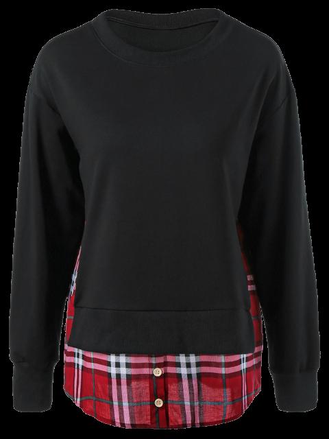 women's Plaid Patchwork Side Slit Sweatshirt - BLACK M Mobile
