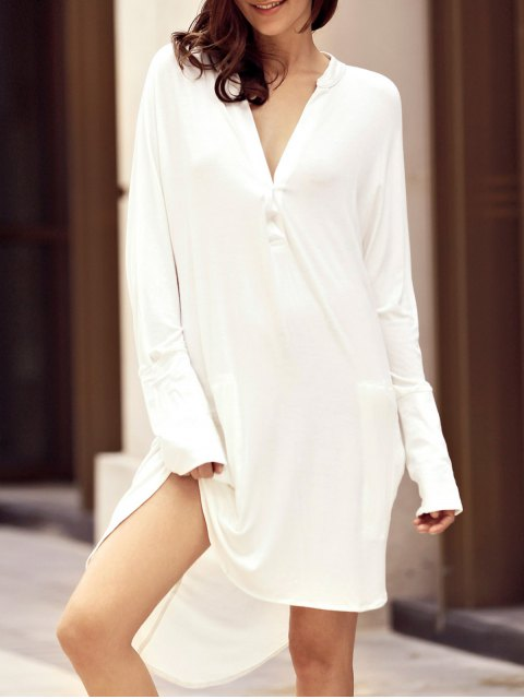 fancy High Low Shirt Dress - WHITE M Mobile