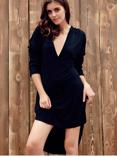 fancy High Low Shirt Dress - BLACK 2XL Mobile
