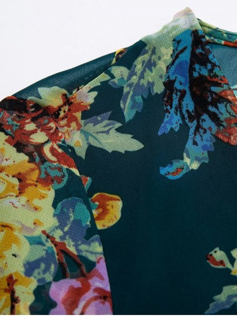 outfits Flower Print V Neck Long Sleeve Chiffon Romper - PURPLISH BLUE L Mobile