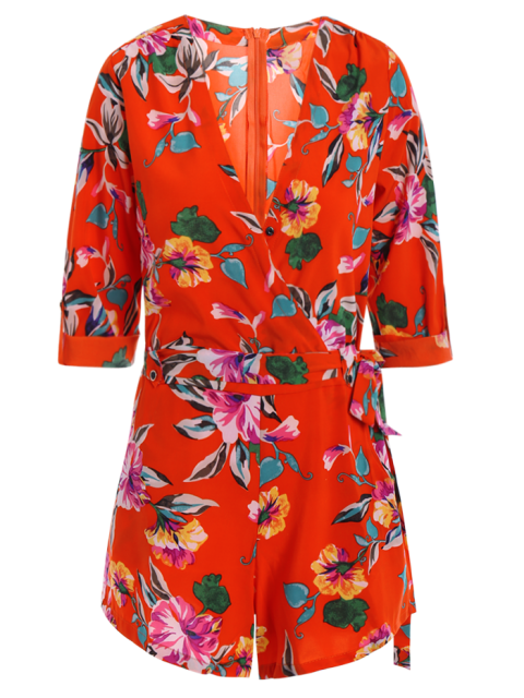 lady Bowknot Floral Print V Neck 3/4 Sleeve Romper - RED L Mobile