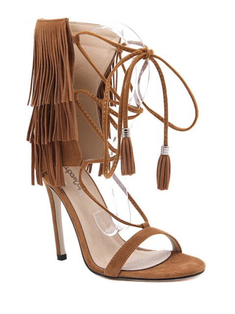 trendy Fringe Lace-Up Stiletto Heel Sandals - BROWN 40 Mobile
