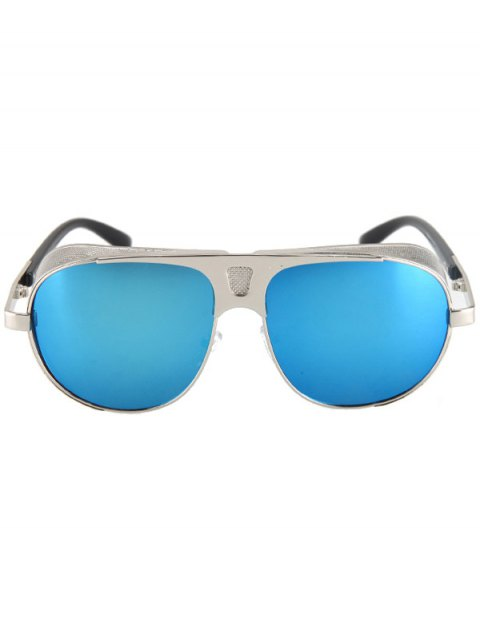 women's Hollow Out Hole Silver Metal Sunglasses - BLUE  Mobile