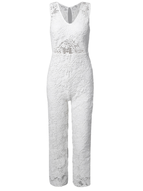 fancy Solid Color Plunging Neck Sleeveless Lace Jumpsuit - WHITE S Mobile