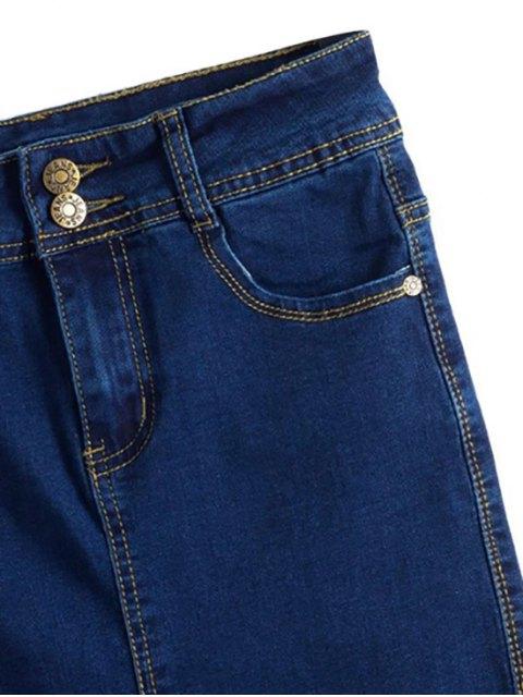 ladies Fitted Packet Buttock High Waist Denim Skirt - DEEP BLUE L Mobile