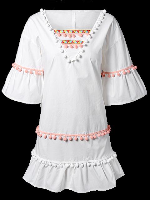 women Pom Pom Embroidery V Neck 3/4 Sleeve Dress - WHITE 2XL Mobile
