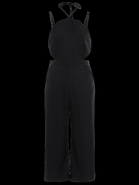 hot Loose Cutout Slip Jumpsuit - BLACK M Mobile