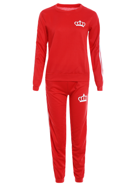 fashion Printed Sweatshirt and Elastic Waist Pants Suit - RED XL Mobile