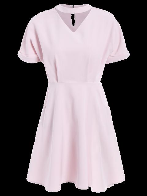 lady A Line Short Sleeve Choker Dress - PINK L Mobile