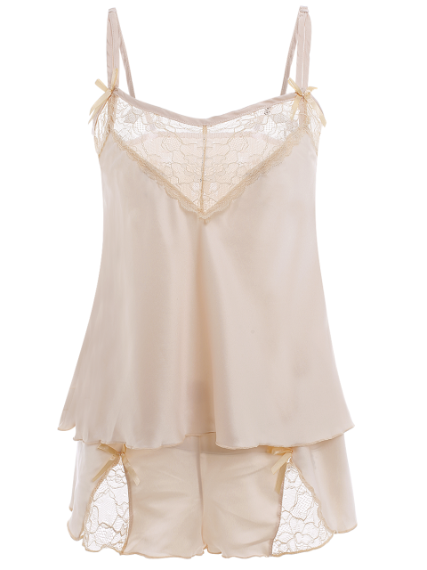womens Lace Panel Spaghetti Strap Sleepwear - APRICOT M Mobile