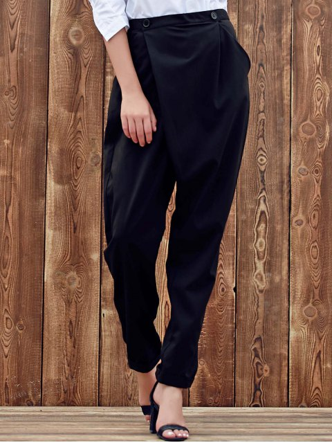 best Black Casual High Waist Nine Minutes of Harem Pant - BLACK 2XL Mobile