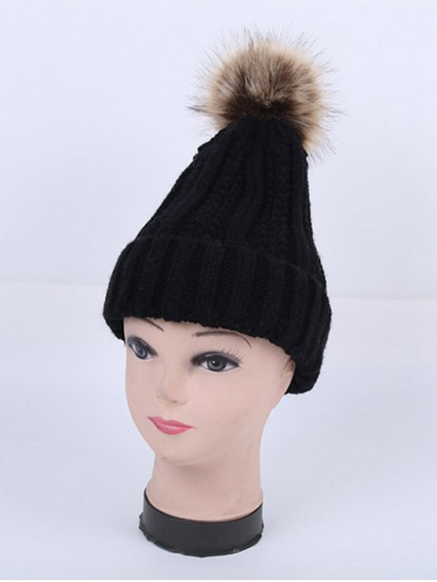 women's Winter Stripy Flanging Pom Hat -   Mobile
