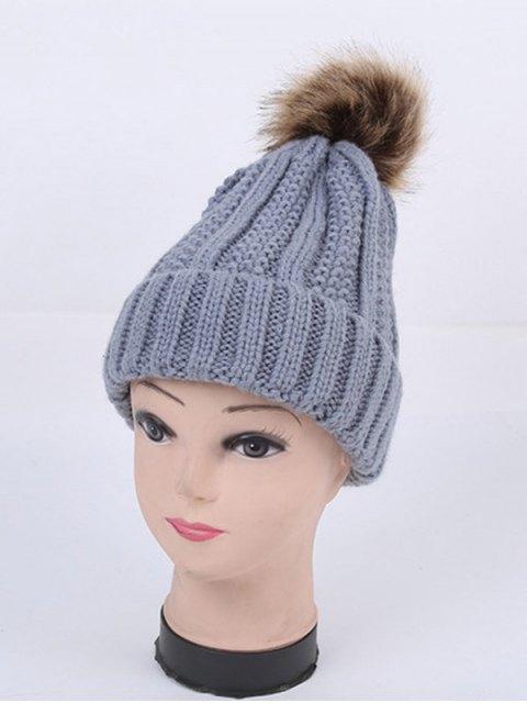 ladies Winter Stripy Flanging Pom Hat -   Mobile