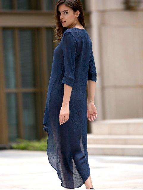 fancy High Low Hem Plunging Neck Dress - DEEP BLUE L Mobile