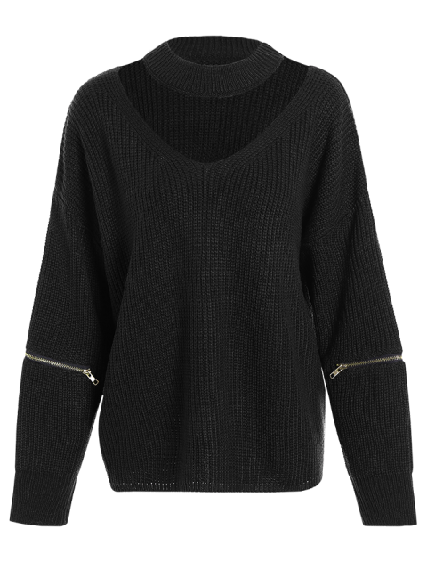 ladies Plus Size Cut Out Chuky Choker Sweater - BLACK ONE SIZE Mobile