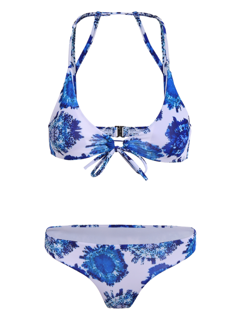 best Printed String Strappy Bikini Set - BLUE S Mobile