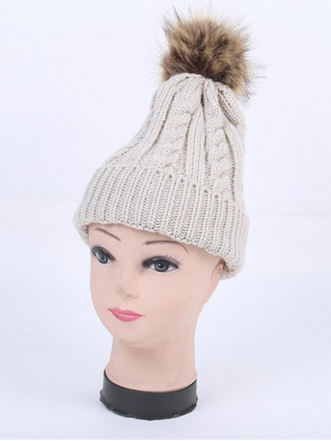 ladies Winter Stripy Cable Knit Pom Hat -   Mobile